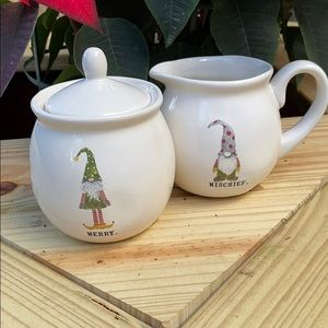 NIB Rae Dunn Gnome SUGAR & CREAMER Serving Set